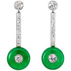 Platinum French and Old European Diamond Jadeite Vintage Earrings