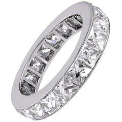 Platinum French Cut Diamond 6.83 Carat Ring Band