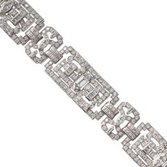 Geometric Art Deco Diamond Platinum Bracelet