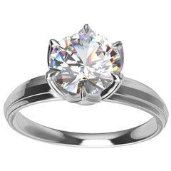 Platinum GIA 1 Carat Diamond Arabesque Engagement Ring
