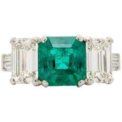Platinum GIA 1.20 Carat Colombian Emerald and 1.10 Carat Emerald Cut Diamonds