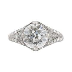 Platinum Gia 2.15 on Diamonds Filigree Engagement Ring