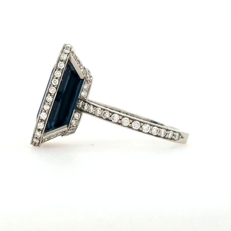 Platinum GIA Certified 10.29 Carat Octagonal Sapphire Diamond Halo Ring In Good Condition For Sale In Boca Raton, FL
