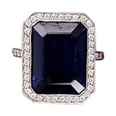 Platinum GIA Certified 10.29 Carat Octagonal Sapphire Diamond Halo Ring