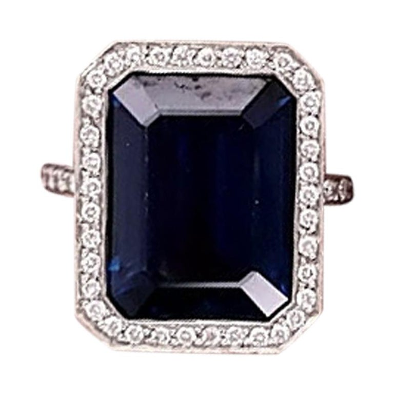 Platinum GIA Certified 10.29 Carat Octagonal Sapphire Diamond Halo Ring For Sale