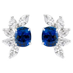 Platinum GIA Certified 10.54 Carats Sapphire and Diamond Cocktail Stud Earrings