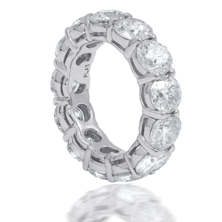Round Cut Platinum GIA Certified 13.14 Carat Diamond Eternity Band, 'D-F VVS-VS' For Sale