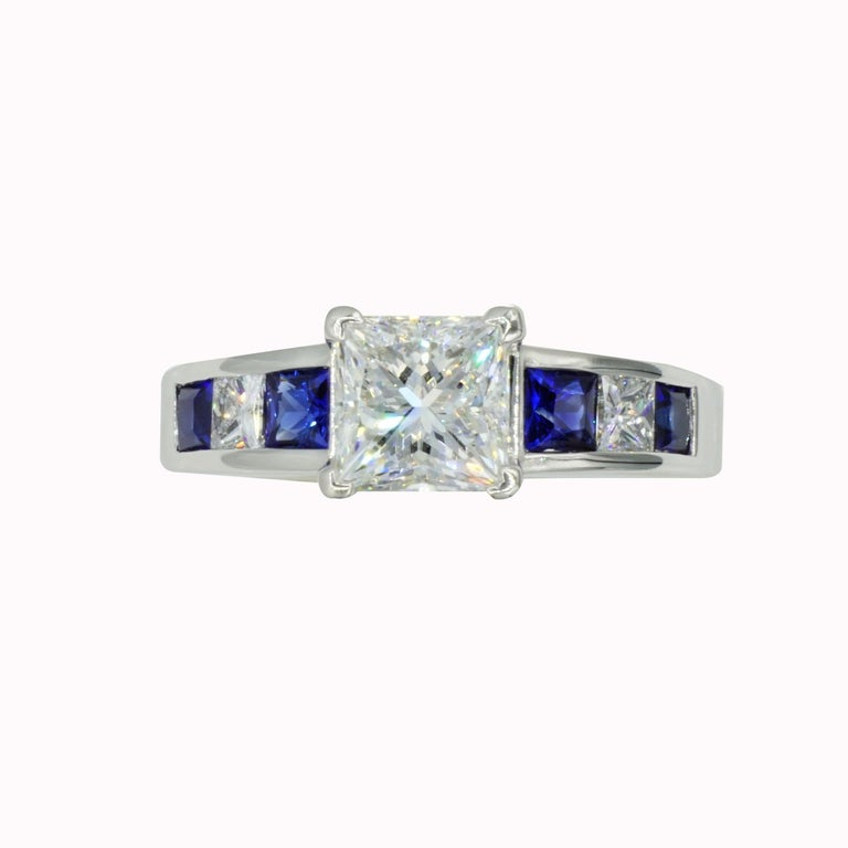 Artist Platinum GIA Certified 1.53ct Princess Cut Diamond Sapphire Wedding Set by RGC For Sale