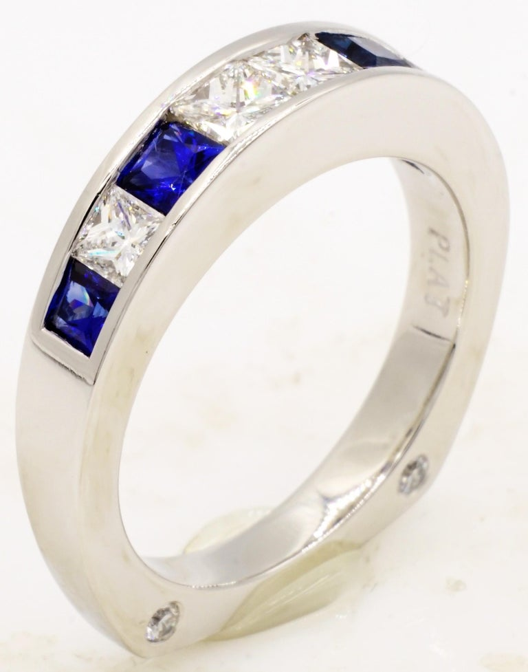 Platinum GIA Certified 1.53ct Princess Cut Diamond Sapphire Wedding Set by RGC In Good Condition For Sale In Rancho Santa Fe, CA