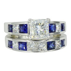Platinum GIA Certified 1.53ct Princess Cut Diamond Sapphire Wedding Set by RGC