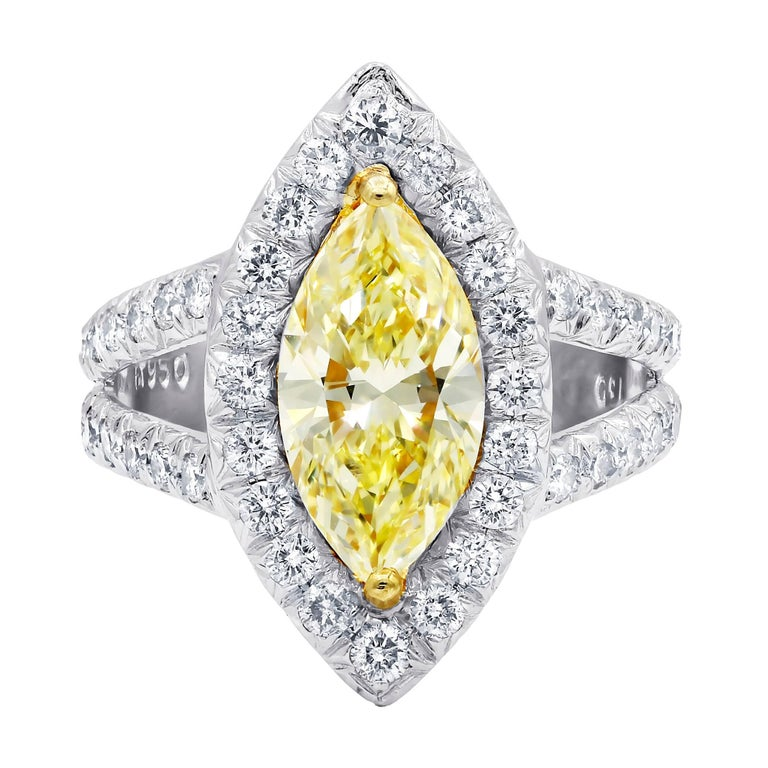 Platinum GIA Certified 2.51 Carat Fancy Yellow-VS2 Diamond Ring