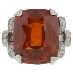 Platinum GIA Certified 25.56 Carat Orange Sapphire and Diamond Ring