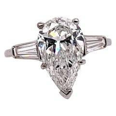 Platinum GIA Certified 3.30 Carat F SI1 XX Pear Shape and Baguette Ring