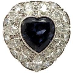 Platinum GIA Certified Art Deco Style Bluish Violet Sapphire Heart Diamond Ring