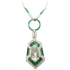Platinum GIA Certified Art Deco Style Kite Diamond and Emerald Fashion Necklace