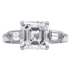 Platinum GIA Certified Asscher Cut 2.86 Carat G Color VS2 Engagement Ring