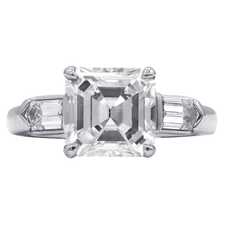 Platinum GIA Certified Asscher Cut 2.86 Carat G Color VS2 Engagement Ring