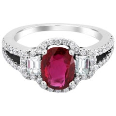 OGI Platinum Burma Ruby Diamond Cocktail Cluster Ring GIA certificate No Heat