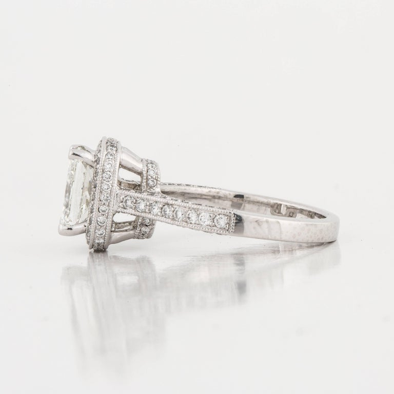 Platinum GIA Certified Diamond Ring In Good Condition For Sale In Houston, TX