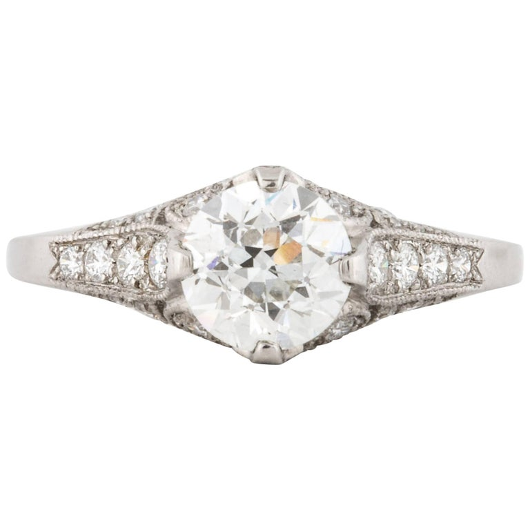 Platinum GIA Certified Diamond Ring For Sale