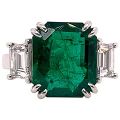 Platinum GIA Certified Emerald Ring with Diamonds 3-Stone Ring