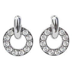 Platinum GIA Diamond Hoop Dangle Earrings