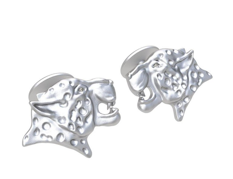 Platinum GIA Diamond Leopard Cuff links, These come from my Feline Collection. I am fascinated with all kinds of wild cats. The leopard can reach a speed of 60 km.h  or 40 mph, but only for a limited time before overheating.  These are GIA diamonds.