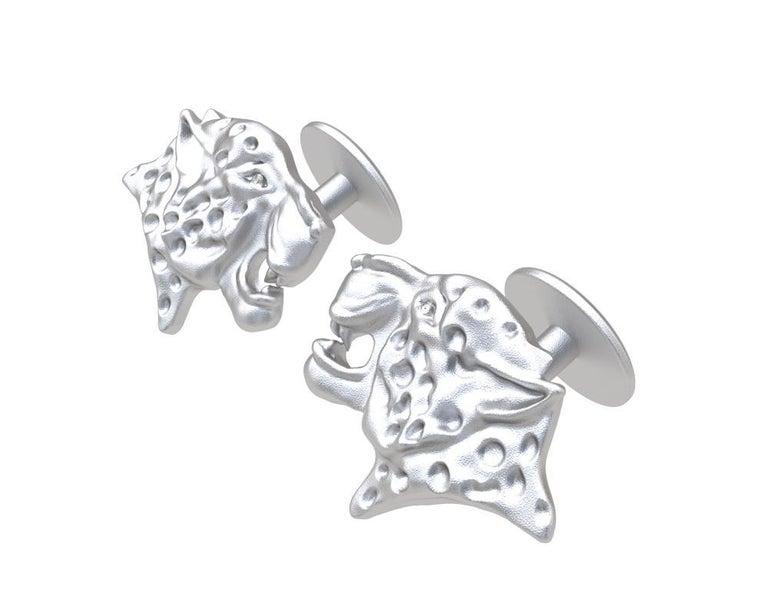 Round Cut Platinum GIA Diamond Leopard Cufflinks For Sale