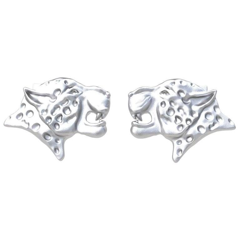 Platinum GIA Diamond Leopard Cufflinks For Sale