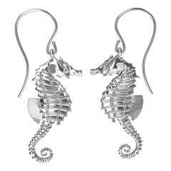 Platinum GIA Diamond Sea Horse Earrings