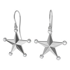 Platinum GIA Diamond Star Dangle Earrings