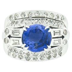 Platinum GIA No Heat Ceylon Sapphire Diamond Engagement Ring & 14k Gold Band Set