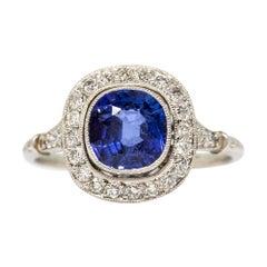 Platinum GIA No Heat Sapphire Engagement Ring
