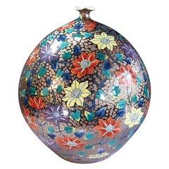 Platinum Gilt Porcelain Vase by Japanese Master Artist