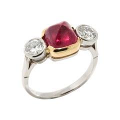 Platinum & Gold 4.52 Ct Ruby Diamond Ring