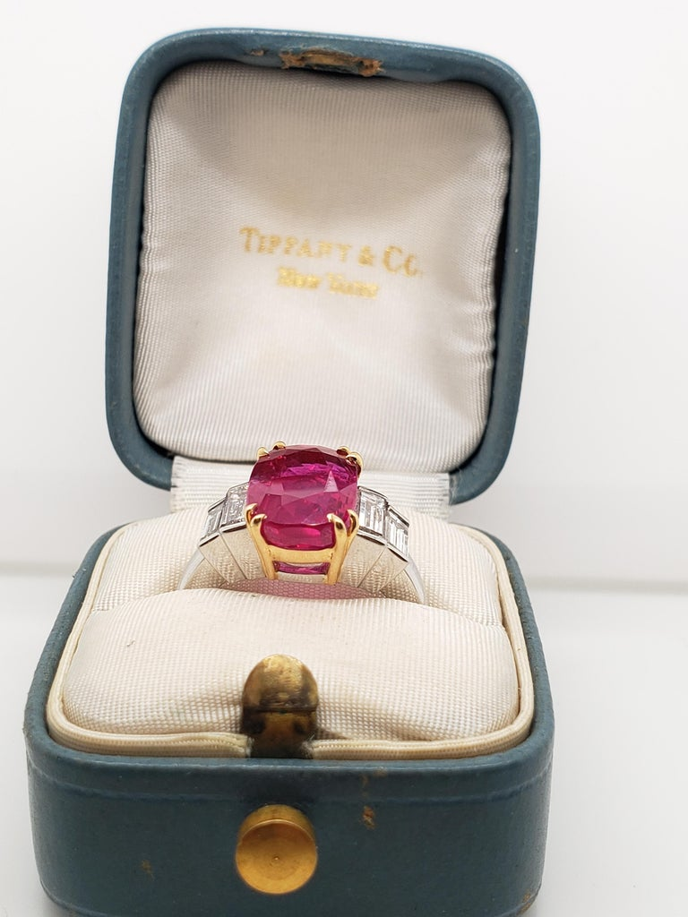 Contemporary Tiffany & Co. AGL Certified 4.02 Ruby  Diamond Ring, For Sale