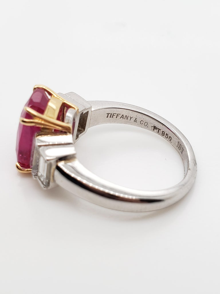Cushion Cut Tiffany & Co. AGL Certified 4.02 Ruby  Diamond Ring, For Sale