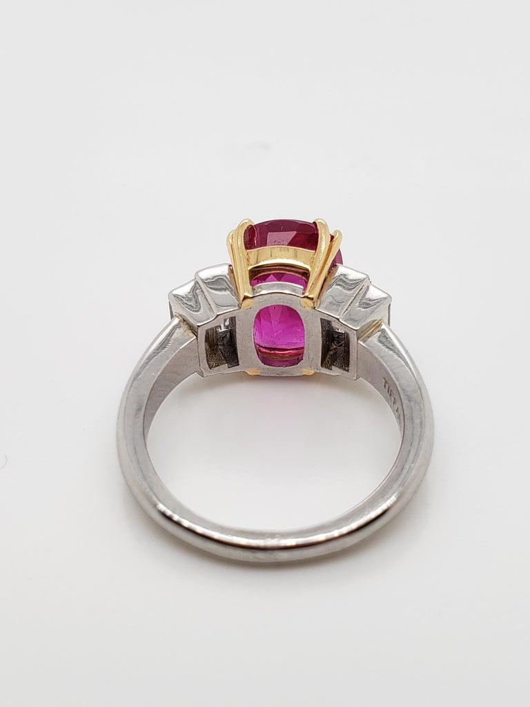 Tiffany & Co. AGL Certified 4.02 Ruby  Diamond Ring, In Good Condition For Sale In New York, NY