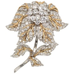 Platinum, Gold and Diamond Flower Brooch