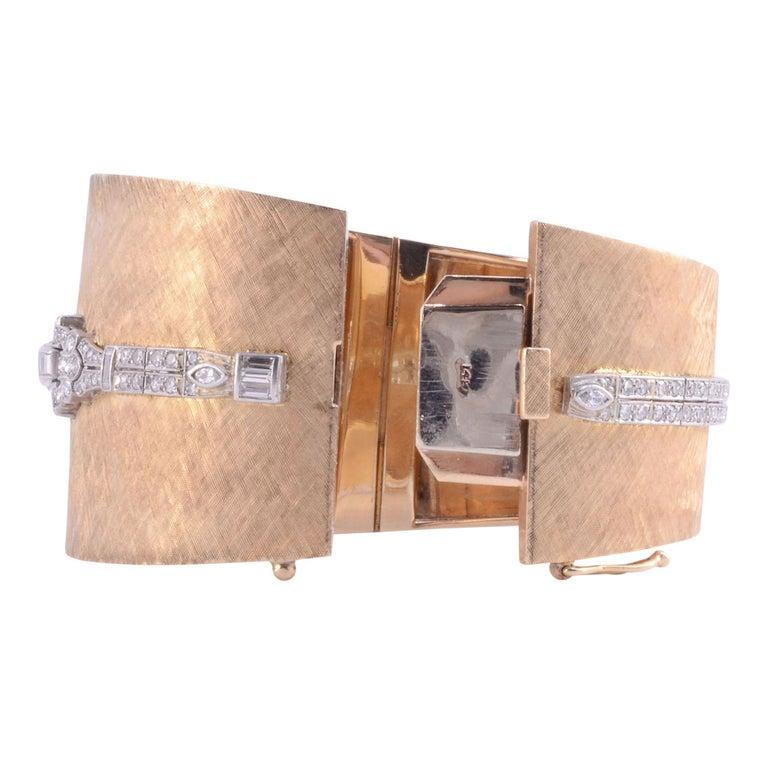 Round Cut Platinum, Gold & Diamond Cuff Bracelet Wrist Watch For Sale