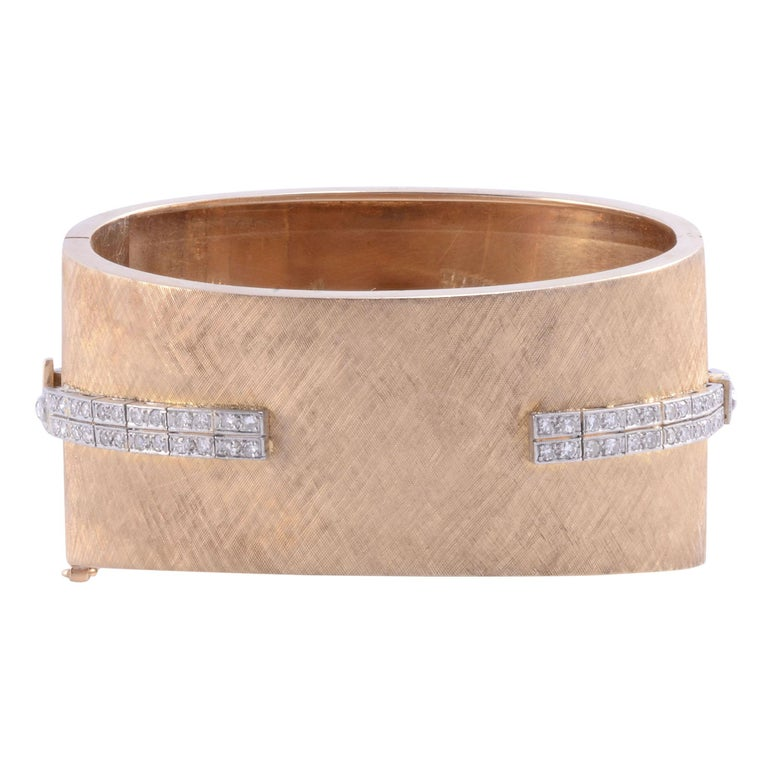 Platinum, Gold & Diamond Cuff Bracelet Wrist Watch In Good Condition For Sale In Solvang, CA
