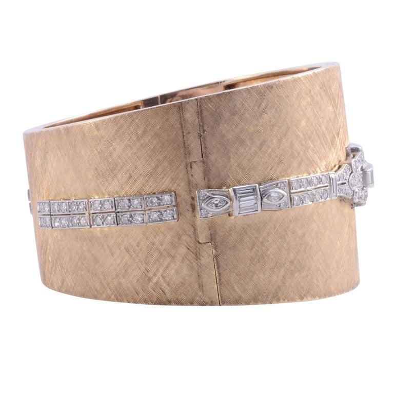 Women's Platinum, Gold & Diamond Cuff Bracelet Wrist Watch For Sale