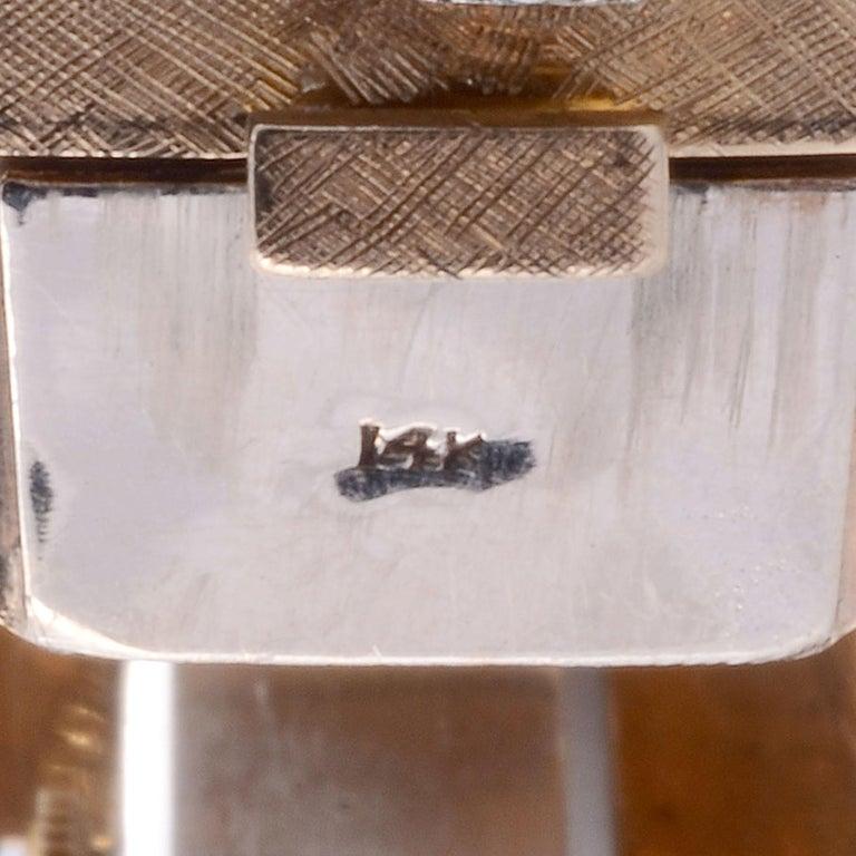 Platinum, Gold & Diamond Cuff Bracelet Wrist Watch For Sale 1