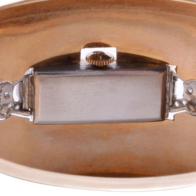 Platinum, Gold & Diamond Cuff Bracelet Wrist Watch For Sale 2