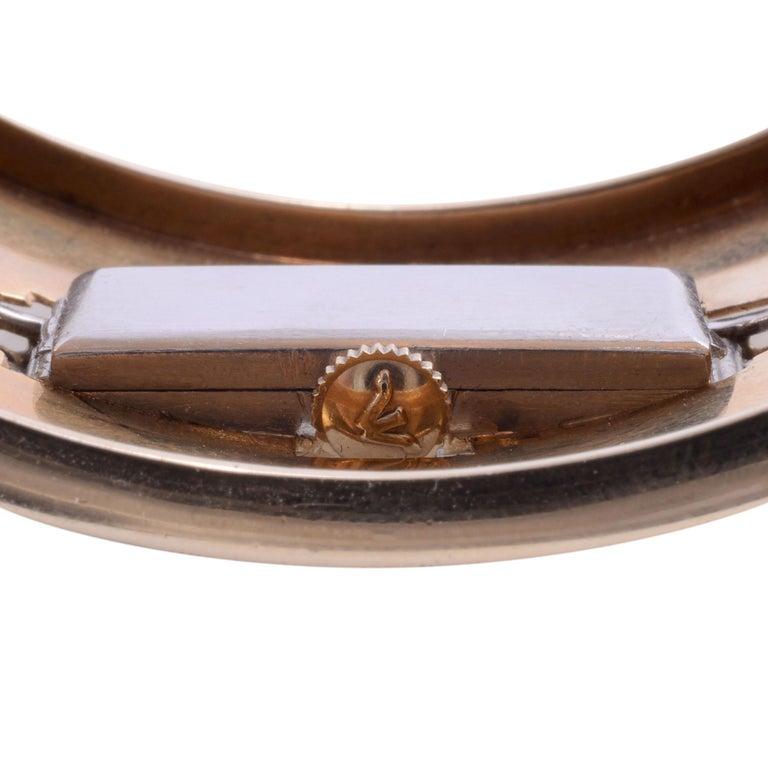 Platinum, Gold & Diamond Cuff Bracelet Wrist Watch For Sale 3