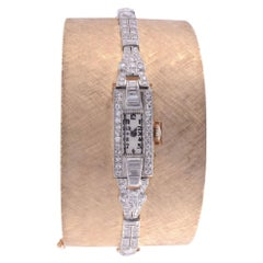 Platinum, Gold & Diamond Cuff Bracelet Wrist Watch