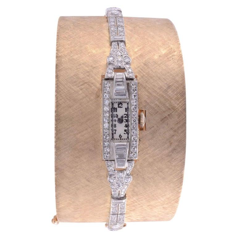 Platinum, Gold & Diamond Cuff Bracelet Wrist Watch For Sale