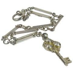 Platinum Gold Diamond Key Charm Bracelet