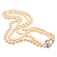 Platinum Golden Akoya Cultured Strand Pearl Necklace with White Sapphires