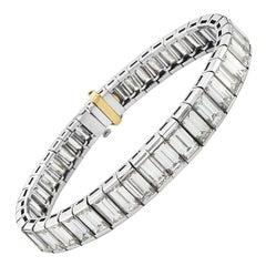Platinum Graduated Baguette Tennis Bracelet